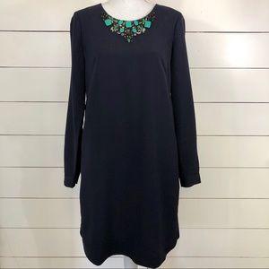 Adrianna Papell navy jeweled neck shift dress